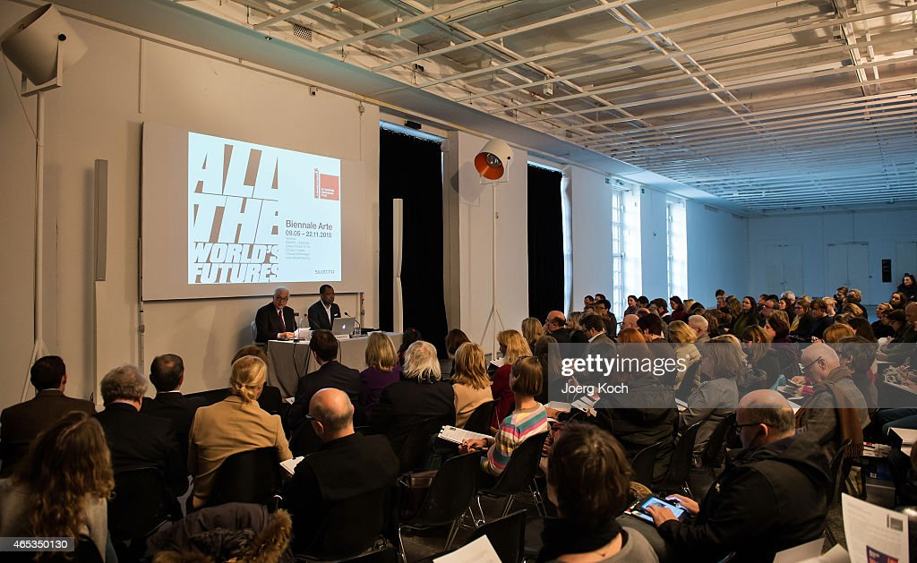 Paolo Baratta (L), president of the Venice Biennale, and Okwui Enwezor, director of the 'Haus der Kunst', attend the 'All the World's Futures' International Art Exhibition Press Conference at Haus der Kunst on March 6, 2015 in Munich, Germany.