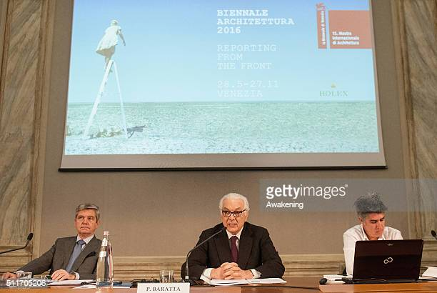 Paolo Baratta president of Venice Biennale Alejandro Aravena curator and the representative of the sponsor 'Rolex' attend at the conference...