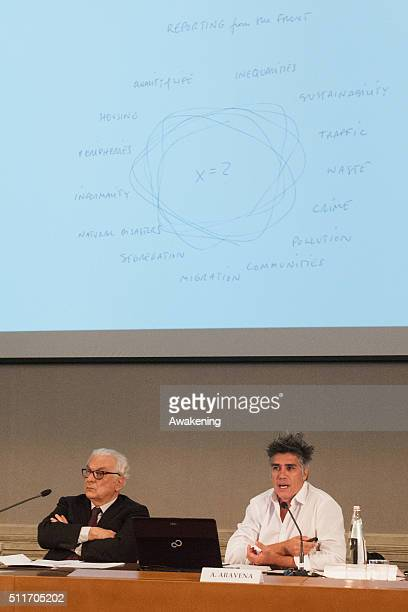Paolo Baratta president of Venice Biennale and Alejandro Aravena curator attend at the conference presentation of the 15th edition of Biennale...