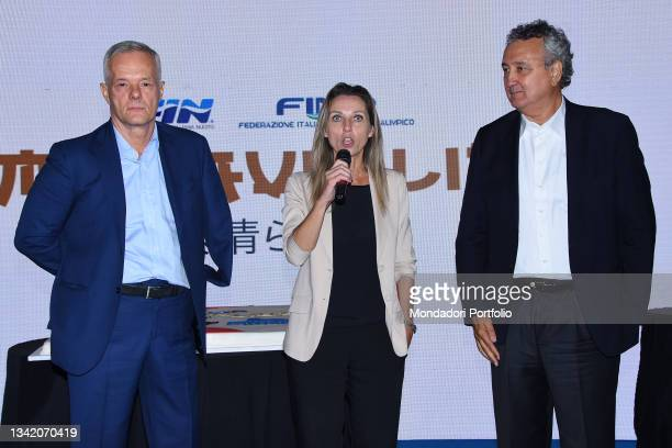 Paolo Barelli, Valentina Vezzali and Roberto Valori on the blue carpet of the Gala I Meravigliosi, an event organized by the Italian swimming...