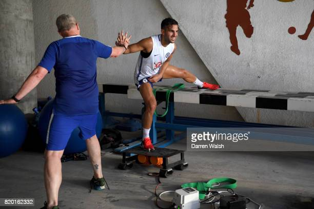 Paolo Bertelli and Cesc Fabregas of Chelsea during a training session at the AOTI Stadium on July 20 2017 in Beijing China