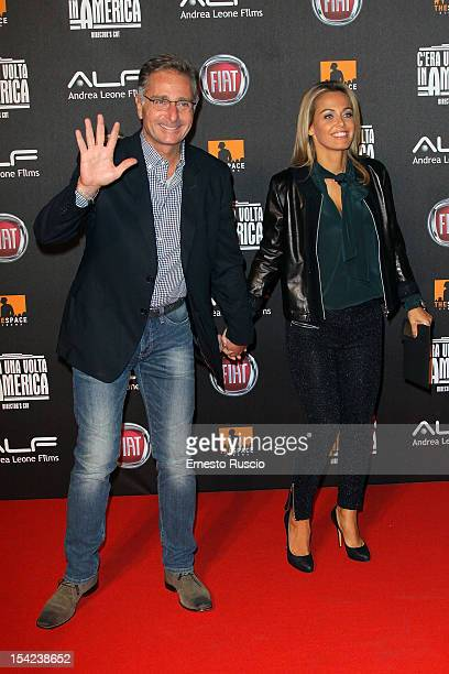 Paolo Bonolis and Sonia Bruganelli attend the 'C'era Una Volta In America Director's Cut' premiere at Space Moderno on October 16 2012 in Rome Italy