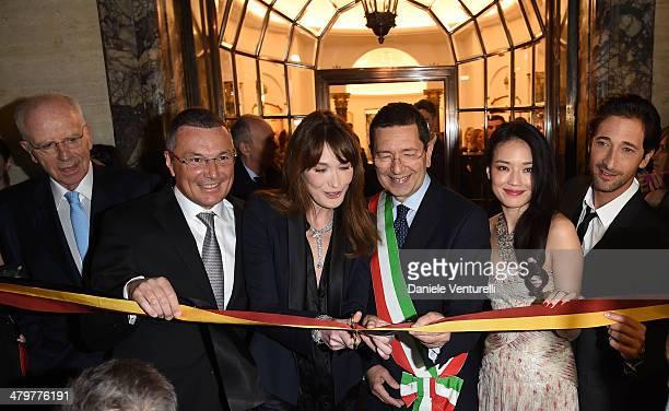 Paolo Bulgari Jean Christophe Babin Carla Bruni Ignazio Marino Shu Qi and Adrien Brody attend 'Bvlgari Celebrates 130 Years In Rome' at Via Condotti...