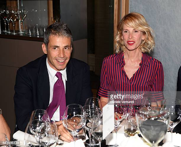 Paolo Calabresi and Alessia Marcuzzi attends IWC Boutique Opening Dinner on June 28 2016 in Milan Italy