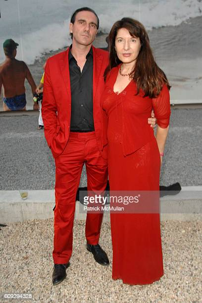 Paolo Canevari and Marina Abramovic attend VOOM Zoo The14th Annual WATERMILL CENTER Summer Benefit at The Watermill Center on July 28 2007 in...