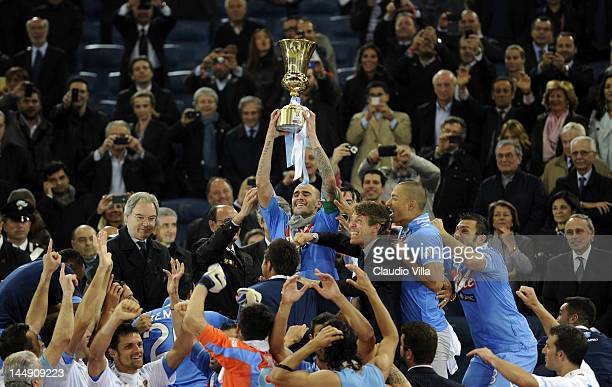 Paolo Cannavaro of SSC Napoli and team mates celebrate their Italian Tim Cup football trophy during a ceremony after the Tim Cup Final between...