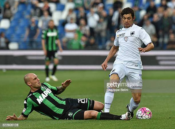 Paolo Cannavaro of US Sassuolo and Dodo' of UC Sampdoria in action during the Serie A match between US Sassuolo Calcio and UC Sampdoria at Mapei...