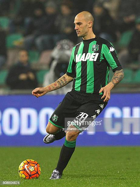 Paolo Cannavaro of US Sassuolo Calcio in action during the Serie A match between US Sassuolo Calcio and AS Roma at Mapei Stadium Città del Tricolore...