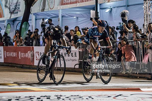 Paolo Caputo and Fu Shiu Cheung sprint for the finish line at 20km Men's open race during the Sun Hung Kai Properties Hong Kong Cyclothon on October...