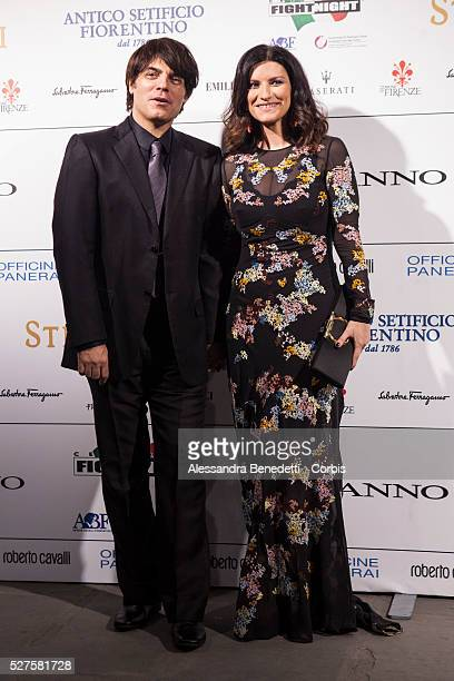 Paolo Carta and Laura Pausini attend the Celebrity Night Fight charity gala and auction at Palazzo Vecchio in FlorenceThe charuty event benefits the...