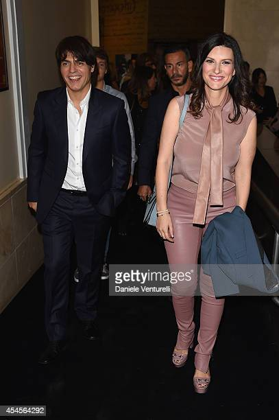 Paolo Carta and Laura Pausini attend The Space Movies Universal Pictures Italia Feltrinelli Real Cinema And Gucci Present The Italian Premiere Of...