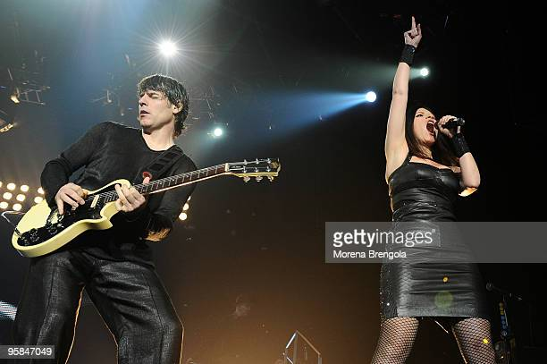 Paolo Carta and Laura Pausini perform at Datch forum on April 14 2009 in Milan Italy
