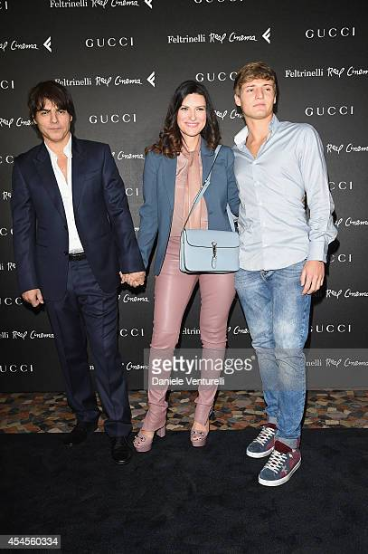 Paolo Carta Laura Pausini and guest attend The Space Movies Universal Pictures Italia Feltrinelli Real Cinema And Gucci Present The Italian Premiere...