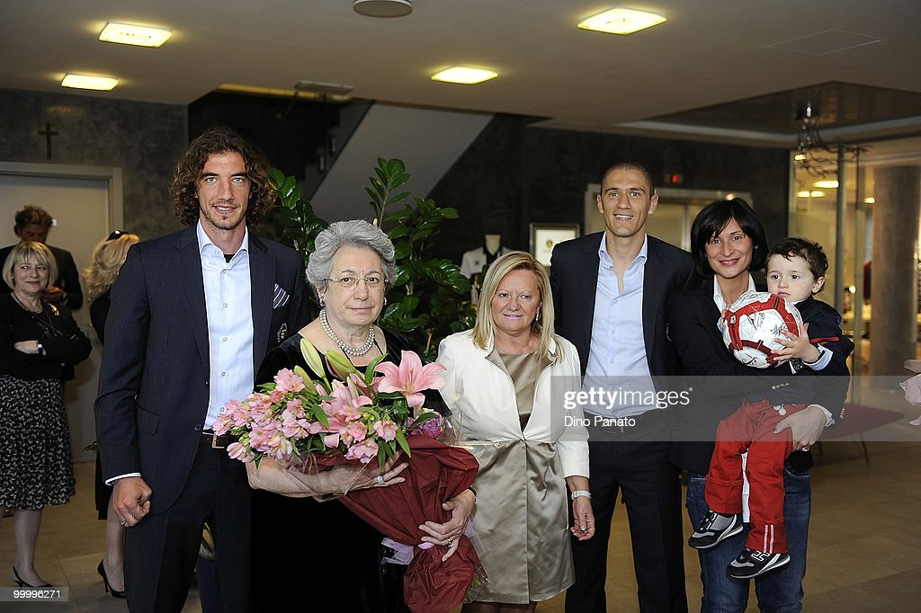 Paolo Castellini of Parma, Franca Bertacchini, Gabriella Posotti, Stefano Morrone and Katia Brunetti attend a press conference as Parma FC and Navigare announce the renewal of their sponsorship deal on May 19, 2010 in Rio Saliceto near Carpi, Italy.