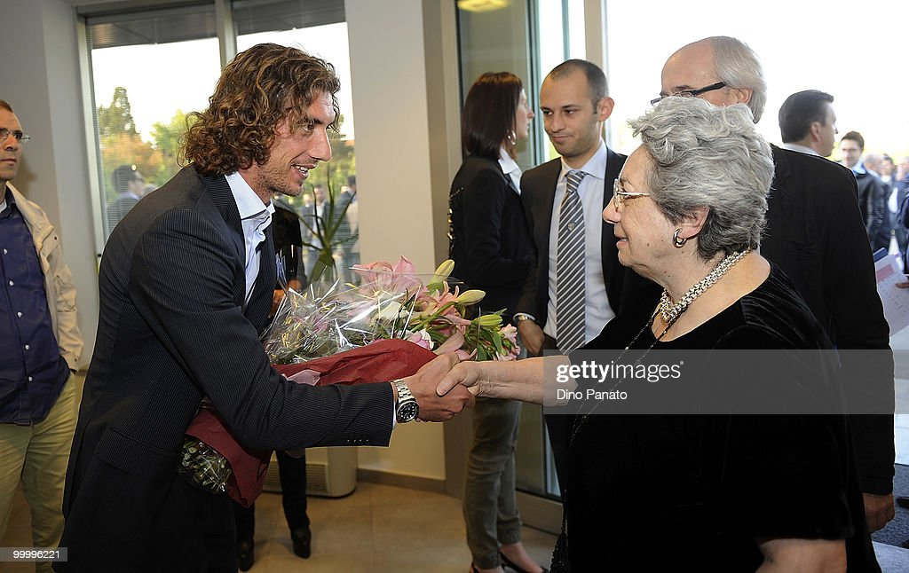 Paolo Castellini of Parma greets Franca Bertacchini as they attend a press conference as Parma FC and Navigare announce the renewal of their sponsorship deal on May 19, 2010 in Rio Saliceto near Carpi, Italy.