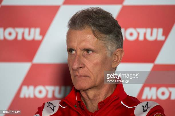 Paolo Ciabatti of Italy and Ducati Team looks on during the Team Managers Press Conference during the MotoGP Of Valencia Free Practice at Ricardo...