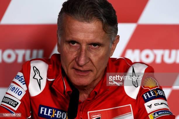 Paolo Ciabatti of Italy and Ducati Team speaks during the Team Managers Press Conference during the MotoGP of Valencia Gran Premio Motul de la...