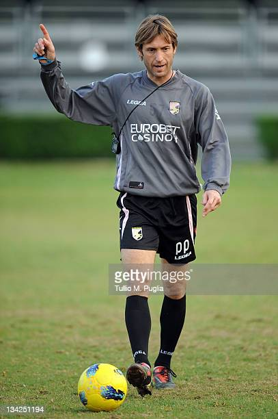 Paolo Cozzi Tecnical Assistant of Palermo in action during a Palermo training session at Tenente Carmelo Onorato Sports Center on November 29 2011 in...