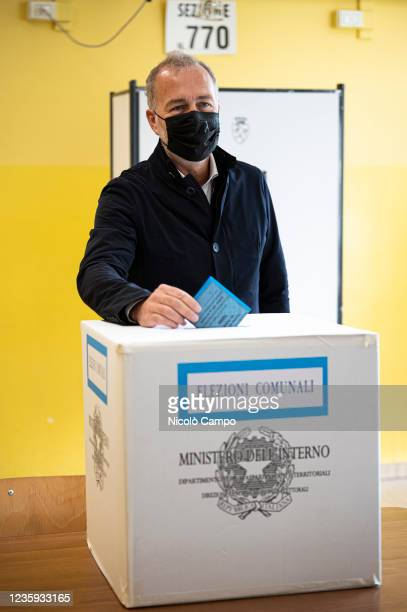 Paolo Damilano, Mayor of Turin candidate for centre-right coalition, casts his ballot at a polling station during the run-off of election to choose...