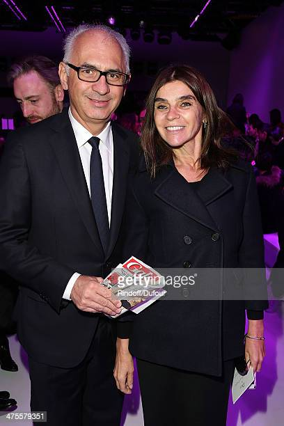 Paolo De Cesare and Carine Roitfeld attend the Christian Dior show as part of the Paris Fashion Week Womenswear Fall/Winter 20142015 on February 28...