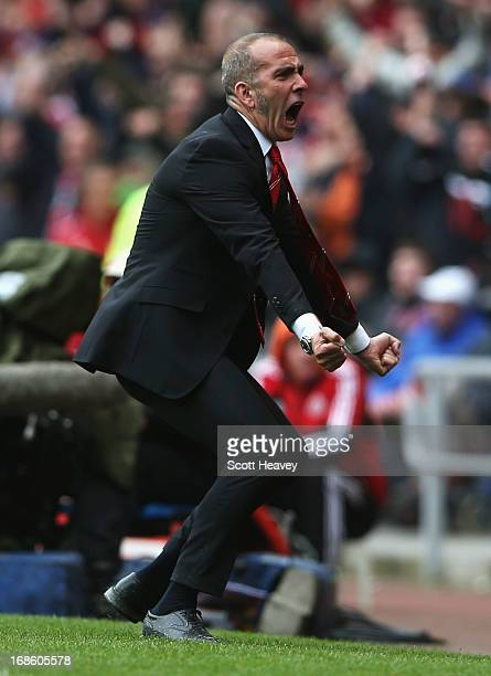 Paolo Di Canio manager of Sunderland celebrates after Phillip Bardsley scored a goal during the Barclays Premier League match between Sunderland and...