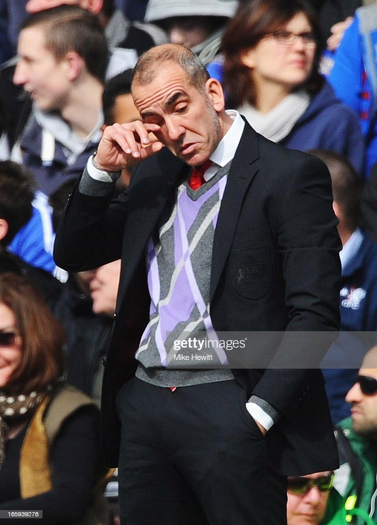 Paolo Di Canio, manager of Sunderland wipes his eye during the Barclays Premier League match between Chelsea and Sunderland at Stamford Bridge on April 7, 2013 in London, England.