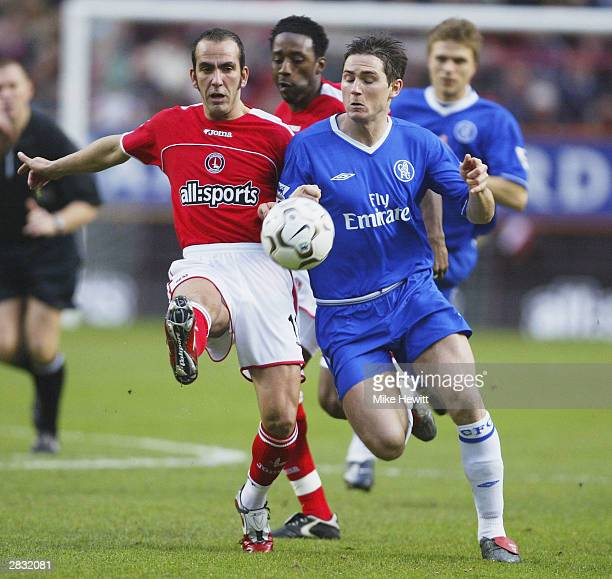 Paolo Di Canio of Charlton Athletic battles with Frank Lampard of Chelsea during the FA Barclaycard Premiership match between Charlton Athletic and...