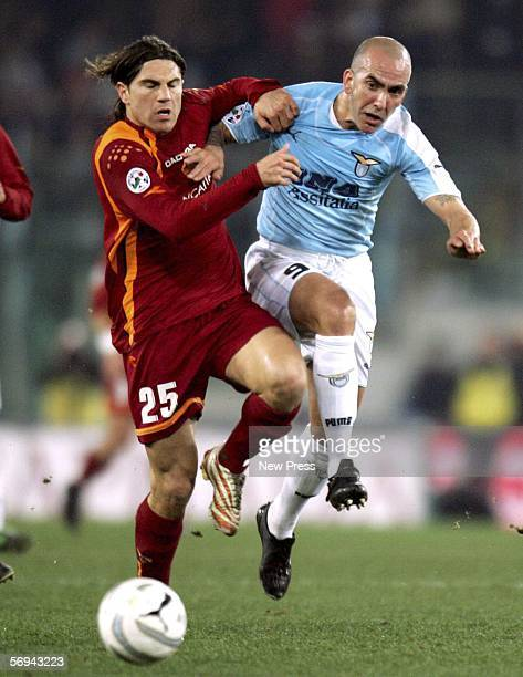 Paolo Di Canio of Lazio challenges Leandro Cufre of Roma during the Serie A match between Lazio and Roma at the Stadio Olimpico on February 26 2006...