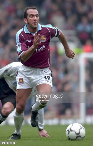 Paolo Di Canio of West Ham United in action during the FA Carling Premiership match between West Ham United and Derby County at Upton Park in London...