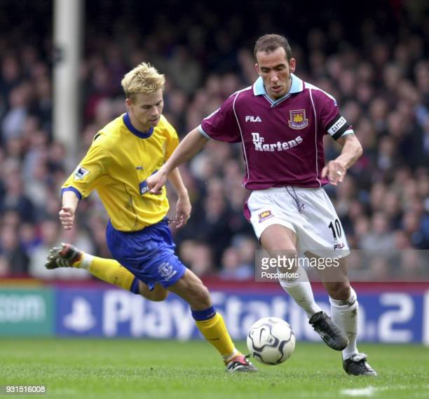 Paolo di Canio of West Ham United in action during the FA Carling Premiership game between West Ham United and Everton at Upton Park in London on...