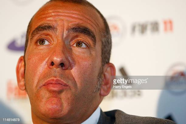 Paolo di Canio talks to the media during a press conference to announce his arrival as manager of Swindon Town FC at County Ground on May 23, 2011 in...