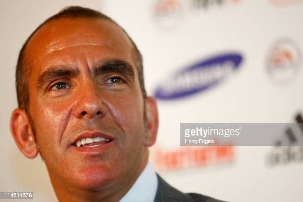 Paolo di Canio talks to the media during a press conference to announce his arrival as manager of Swindon Town FC at County Ground on May 23 2011 in...