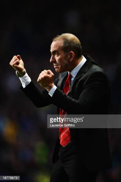 Paolo Di Canio the Sunderland manager shouts instructions from the touchline during the Barclays Premier League match between Aston Villa and...