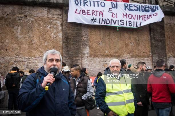 Paolo di Vetta take part in a presidium of HousingRights Movements in Piazza Bocca della Verità in Rome Italy on March 1 2019 to demonstrate against...