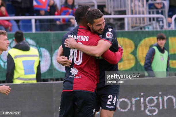 Paolo Faragò of Cagliari celebrates his goal 10 during the Serie A match between Cagliari and SPAL at Sardegna Arena on April 7 2019 in Cagliari Italy