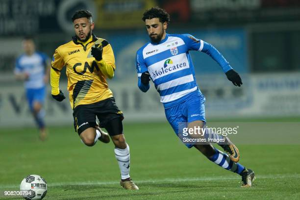 Paolo Fernandes of NAC Breda Youness Mokhtar of PEC Zwolle during the Dutch Eredivisie match between PEC Zwolle v NAC Breda at the MAC3PARK Stadium...