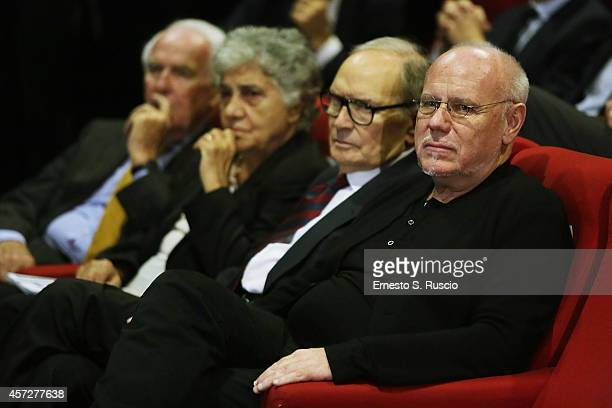 Paolo Ferrari Maria Travia Ennio Morricone and Marco Muller attend the Cocktail Party during the 9th Rome Film Festival at Casa del Cinema on October...
