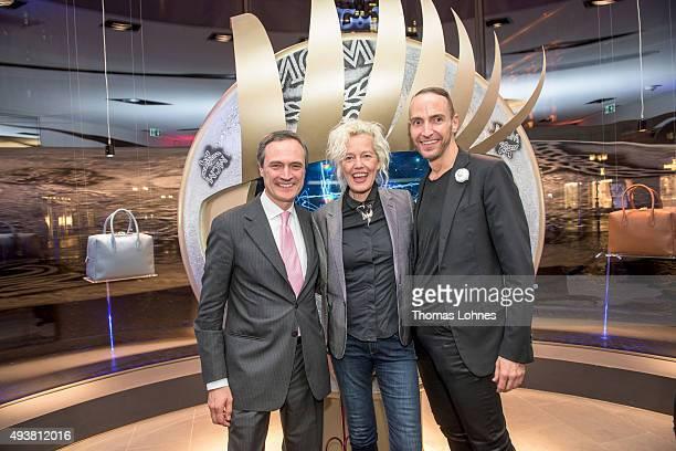 Paolo Fontanelli Ellen von Unwerth and Joerg Zuber attend the MCM Space Odyssey Event at Frankfurt Opera Store on October 22 2015 in Frankfurt am...