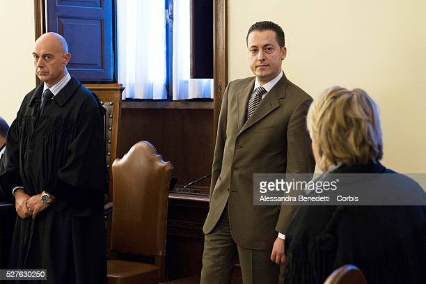 Paolo Gabriele , former butler of Pope Benedict XVI, stands for the verdict in his trial to be delivered at Vatican Courthouse on October 6, 2012 in...