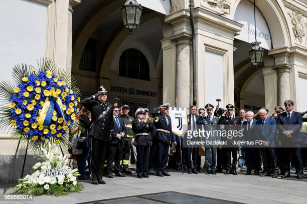 Paolo Garimberti and Antonio Comi pays respect to fan Erika Pioletti on June 3, 2018 in Turin, Italy. Juventus fan Erika Pioletti died while watching...