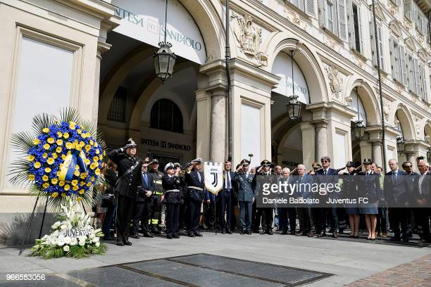 Paolo Garimebrti and Antonio Comi pays respect to fan Erika Pioletti on June 3, 2018 in Turin, Italy. Juventus fan Erika Pioletti died while watching...