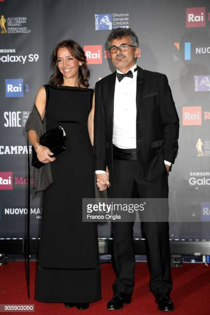 Paolo Genovese and Federica Rizzo walk a red carpet ahead of the 62nd David Di Donatello awards ceremony on March 21 2018 in Rome Italy