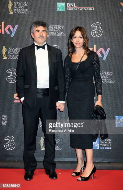 Paolo Genovese and wife Federica Rizzo walk the red carpet of the 61 David Di Donatello on March 27 2017 in Rome Italy