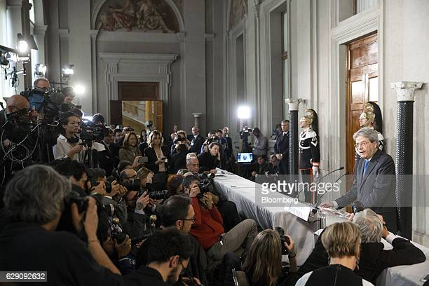 Paolo Gentiloni Italy's prime minister designate speaks during a news conference after meeting with Italian President Sergio Mattarella at the...