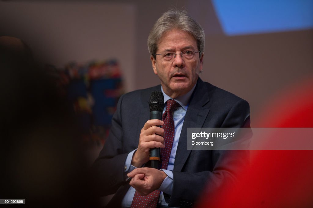 Paolo Gentiloni, Italy's prime minister, speaks during a meeting with young voters in Turin, Italy, on Friday, Jan. 12, 2018. Italians vote on March 4 in an election pitting mainstream parties against populists and euro-skeptics. Photographer: Federico Bernini/Bloomberg via Getty Images
