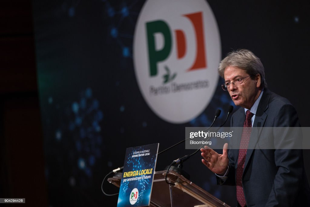 Paolo Gentiloni, Italy's prime minister, speaks during a meeting with local administrators in Turin, Italy, on Friday, Jan. 12, 2018. Italians vote on March 4 in an election pitting mainstream parties against populists and euro-skeptics. Photographer: Federico Bernini/Bloomberg via Getty Images