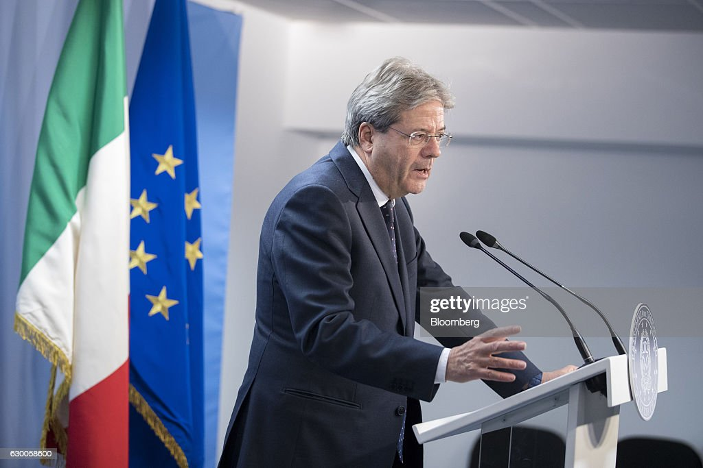 Paolo Gentiloni, Italy's prime minister, speaks during a news conference after a meeting of European Union (EU) leaders in Brussels, Belgium, on Thursday, Dec. 15, 2016. A first glimpse of the European Union's potential for disunity on Brexit emerged at the Brussels summit, as EU leaders were caught up in a dispute over how the bloc negotiates with the U.K. as it heads for the door. Photographer: Jasper Juinen/Bloomberg via Getty Images