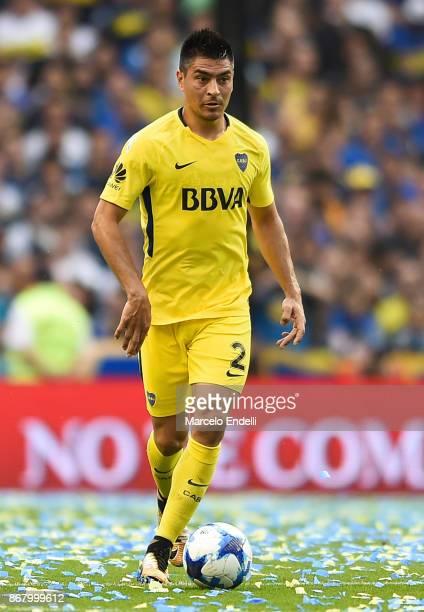 Paolo Goltz of Boca Juniors drives the ball during a match between Boca Juniors and Belgrano as part of Superliga 2017/18 at Alberto J Armando...