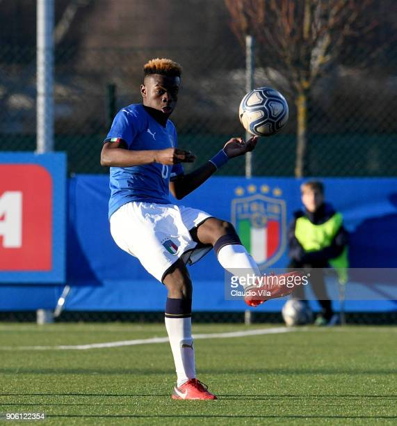 Paolo Gozzi Iweru of Italy in action during the U17 International Friendly match between Italy and Spain at Juventus Center Vinovo on January 17 2018...