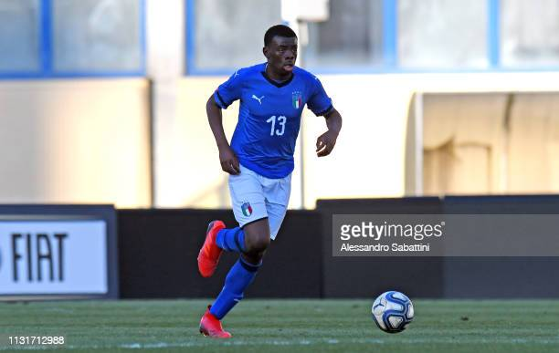 Paolo Gozzi Iweru of Italy U19 in action during the UEFA Elite Round match between Italy U19 and Belgium U19 at Stadio Euganeo on March 20 2019 in...